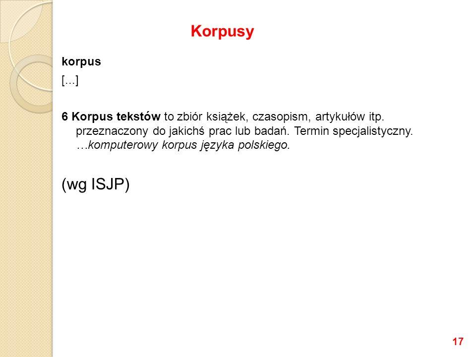 Korpusy (wg ISJP) korpus [...]
